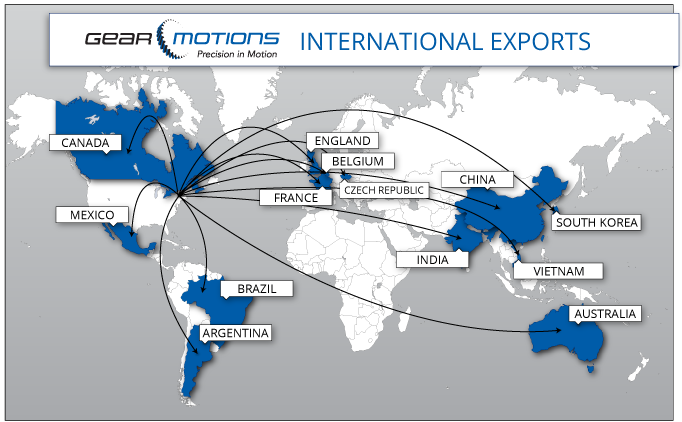 International Exports Map of countries Gear Motions ships to internationally