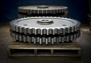 Large Diameter Gears on a pallet that were Manufactured at Oliver Gear, a Division of Gear Motions in Buffalo, NY