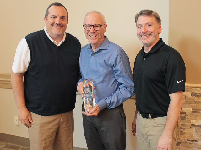 AGMA Lifetime Achievement Award Recipient Sam Haines (middle), with AGMA President Matt Croson (left), and Gear Motions President Dean Burrows (right)