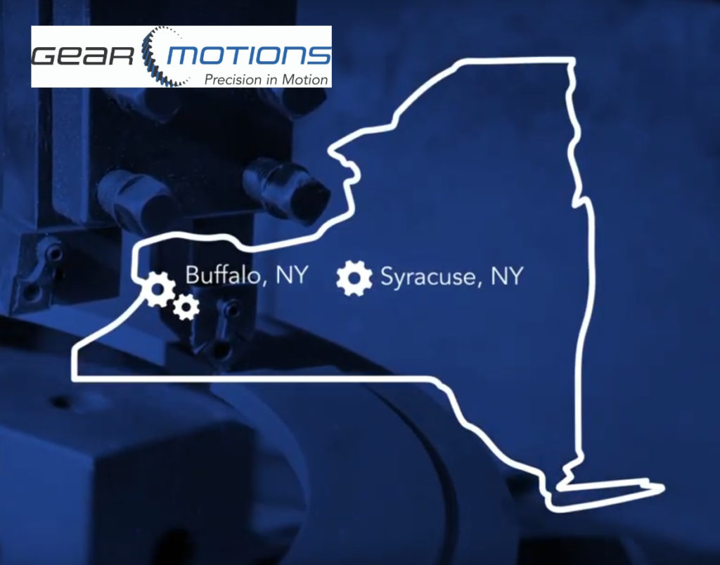Map of New York state with marked locations of Gear Motions divisions in Syracuse, NY and Buffalo, NY