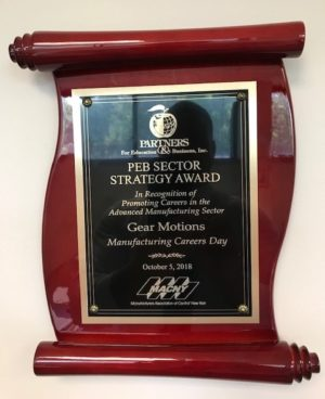 PEB Sector Strategy Award In Recognition of Promotion Careers in the Advanced Manufacturing Sector - Gear Motions