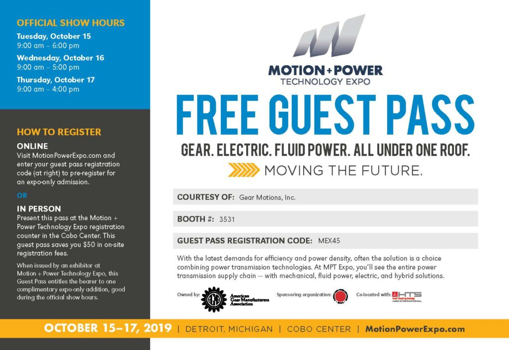 Free Guest Pass to the Motion + Power Technology Expo Courtesy of Gear Motions, Inc.