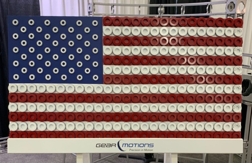 American Flag Made out of Gears - Proud to be Made in America - Gear Motions, Syracuse, NY USA