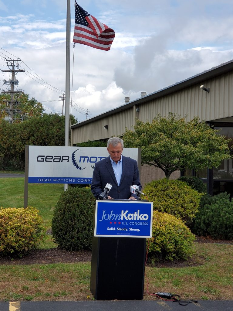 John Katko speaks at a press conference outside of Gear Motions Nixon Gear Division